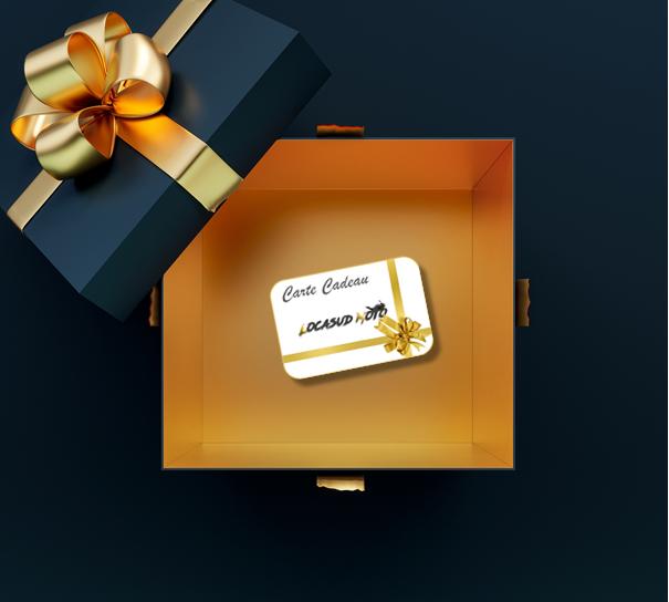 Cadeau contenant une carte cadeau location moto
